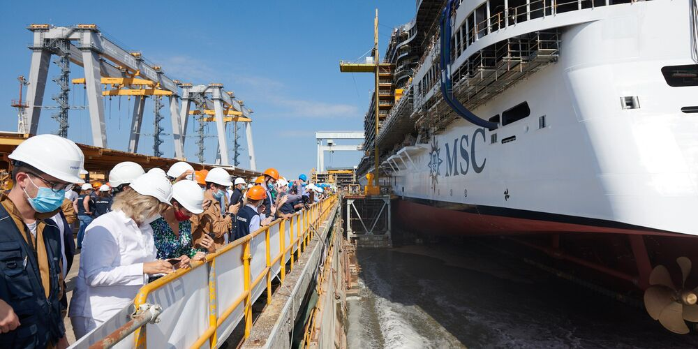 Water enters the dry dock to float MSC Seashore for the first time (1).jpg